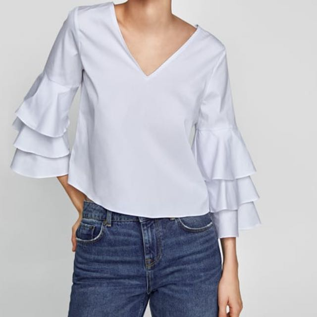 Zara ruffled sleeve poplin top