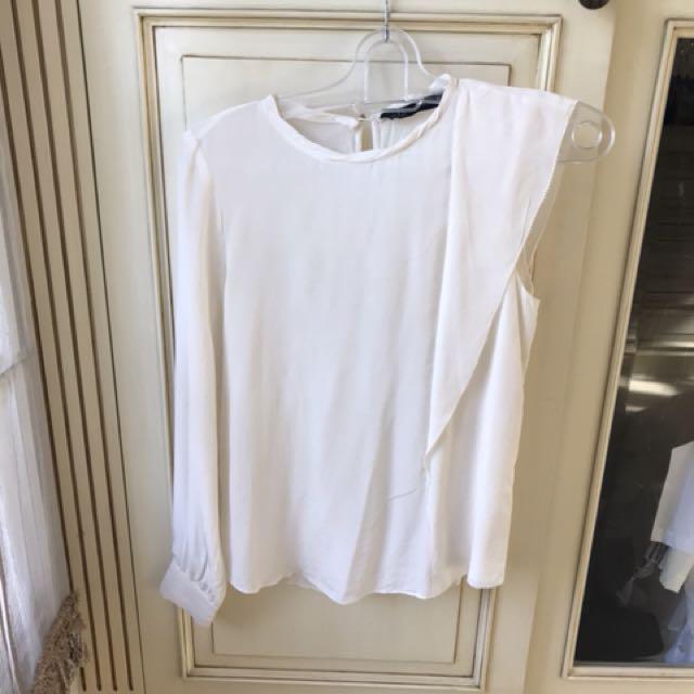 Zara white asymmetrical one sleeve top