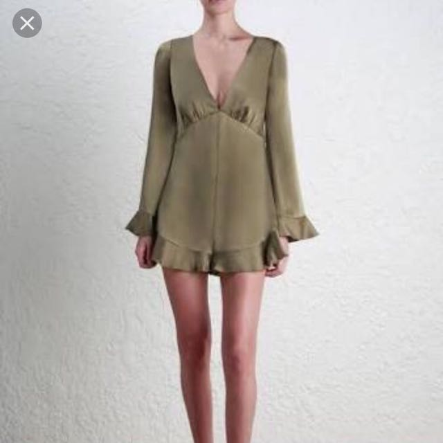 Zimmermann Sueded Tuck Playsuit (olive)