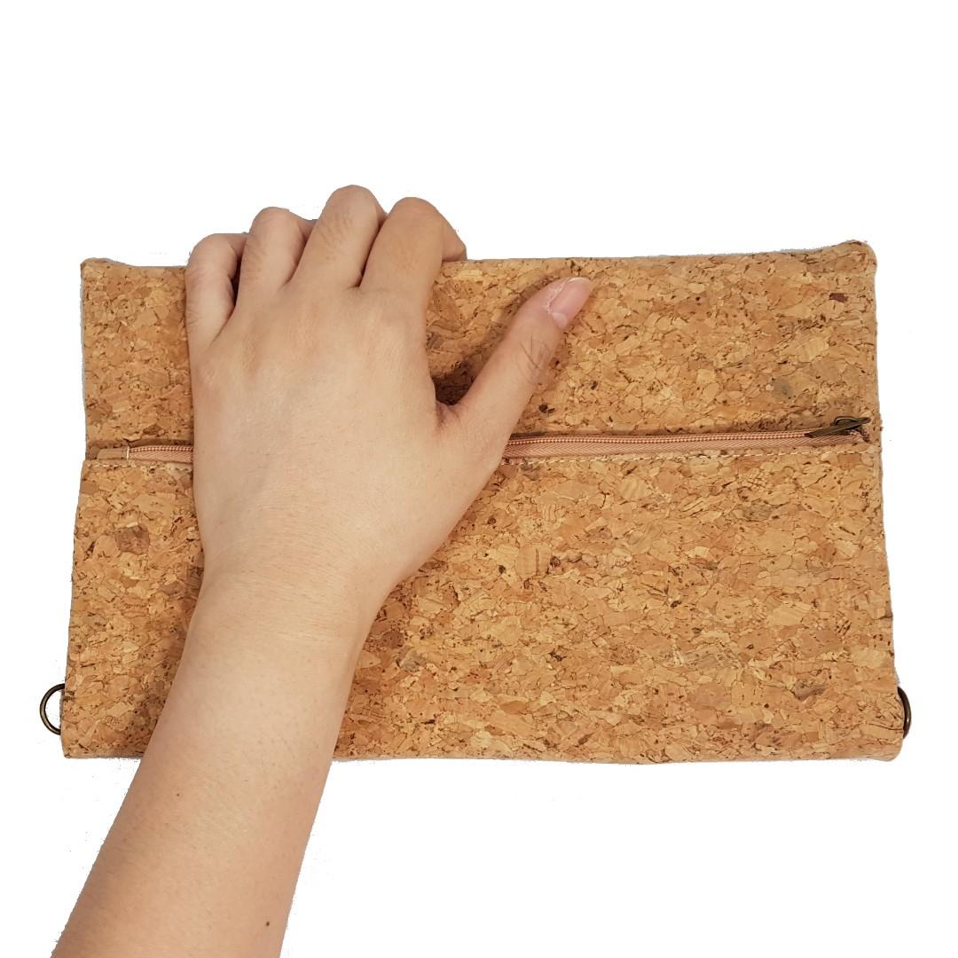 Zip with Snap Button Cork Fold Clutch cum Handbag with Sling