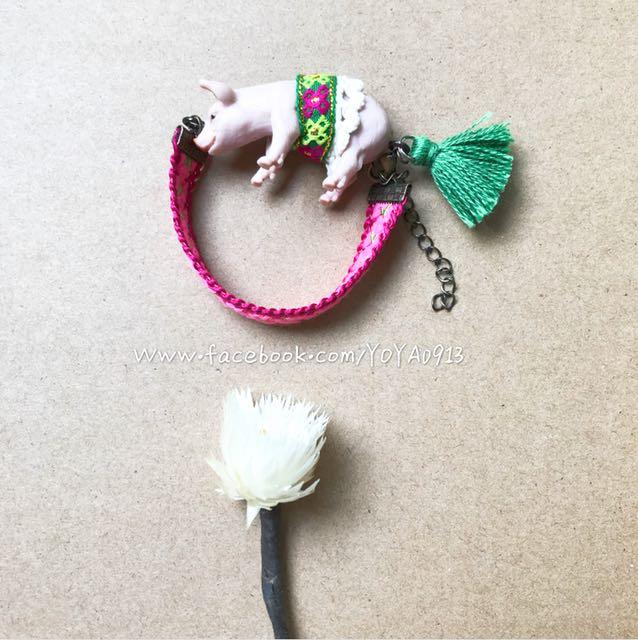 Zoo系列手作限定民族風小豬仔刺繡流蘇手鍊吊飾