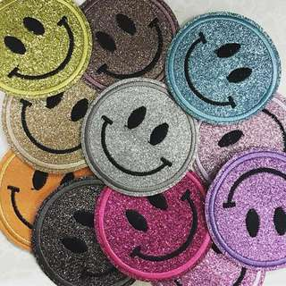 Glitter Smiley Iron On Patch