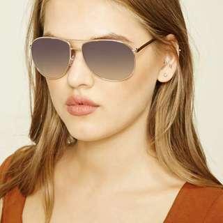 Forever 21 Stylish Gold / Silver Frame Aviator Sunglasses
