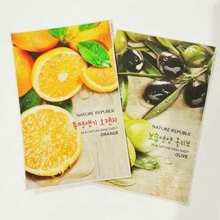 Nature Republic Real Nature Mask Sheet (Orange and Olive)