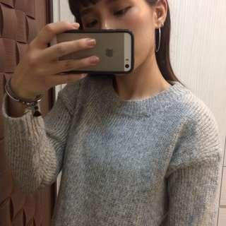 寒流來襲 淺灰針織毛衣