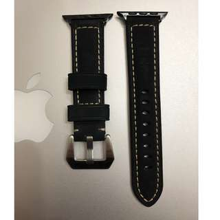 (熱賣款) Apple Watch 錶帶 Panerai 麂皮款 黑色 38mm 42mm Apple Watch Leather Strap black color