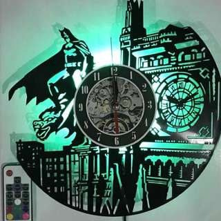 Vinyl Record Wall Clock w/ LED Light Remote Controller