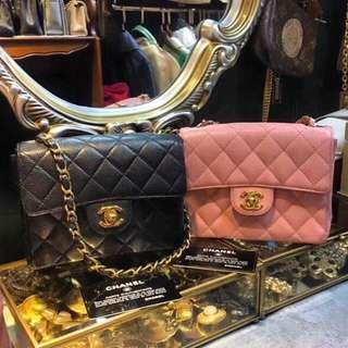 Chanel classic mini 17cm 24k金扣 黑金經典款❤️