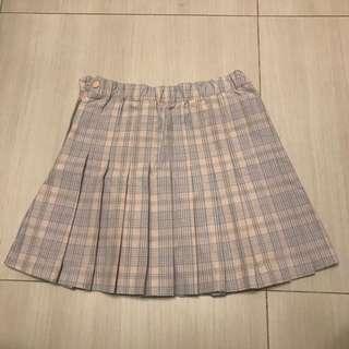 WEGO 粉紅格仔百摺短裙 pink checked pattern skirt
