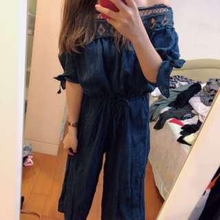 🚚 藍色平口蕾絲連身褲