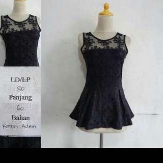 Woman Black Top Dress