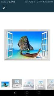 Seaside Landscape 3D Fake Window Wall Sticker Removable DIY Decals