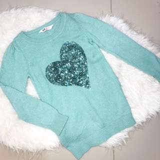 H&m kids sparkly heart sweater with sequins