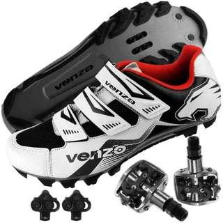 (Venzo) Venzo Mountain Bike Bicycle Cycling Shimano SPD Shoes + Multi-Use Peda