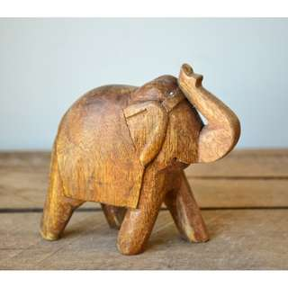 Small Hand Carved Painted Wooden Decorative Elephant