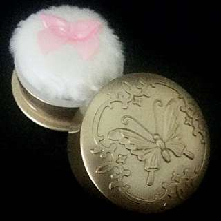 Refillable Gold Victorian princess butterfly powder puff and case