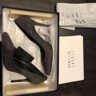 5.5 grey suede Stuart Weitzman heels