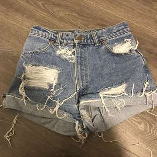 Distressed Levi Denim Shorts