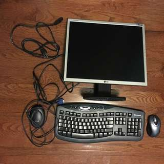 Desktop monitor + wireless keyboard and mouse bundle