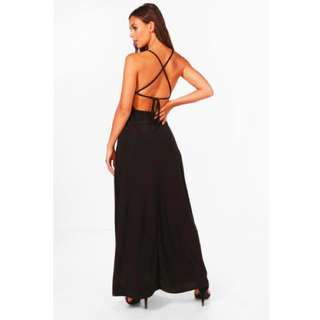 Boohoo.com - Petite Emma Plunge Strappy Back Maxi Dress