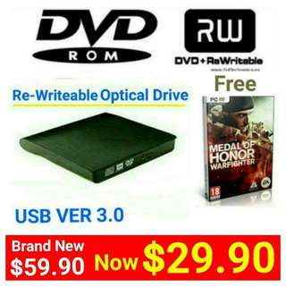 Brand New Portable DVD-RW (Re-Writetable ( USB 3.0)CD-RW/ DVD-RW Burner. Usual Price: $79.90  Special Offer $ 39.90 + Free Mail Postage (Brand New In Box &  Sealed) or whatsapp  85992490 To Pick Up from Any Mrt Stn In Town