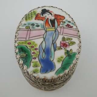 Silver-plated Hand-painted Jewelry Box With Design Of Beauty In Porcelain Surface Bracelet box Trinket box