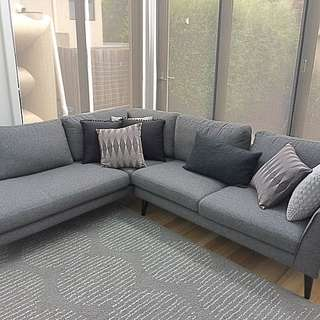 Modern Chic Fabric Sofa with Chaise Left Grey Freedom Designer Living