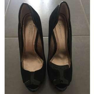 BCBG Black Peep Toe Heels