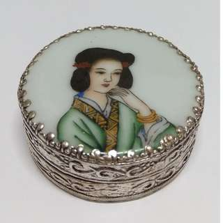Silver-plated Hand-painted Jewelry Box With Beauy Design In Porcelain Surface Bracelet box Trinket box
