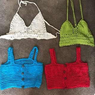 Crochet beach knit crops
