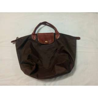 Longchamp Brown Nylon Le Pliage Short Handling Tote Medium