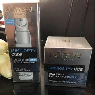 L'Oréal Luminosity Code Day Cream & Extraordinary Serum *brand new in box*