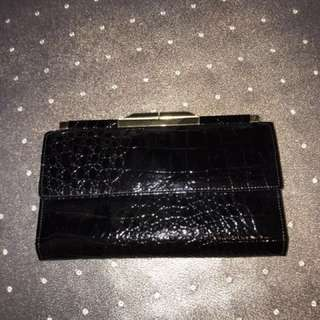 Black faux snakeskin wallet clutch purse with genuine leather