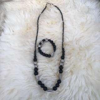 Kalung manik - Black Silver