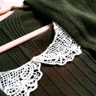 針織墨綠色雙層罩衫
