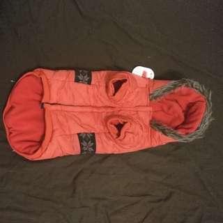 Flece-linned shell winter dog coat wih fur trim