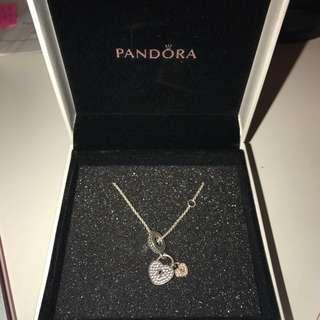 Double heart pandora necklace