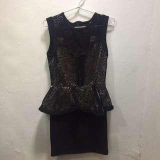 Mini dress black hitam