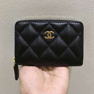 Chanel classic quilted zippy coin/card small wallet