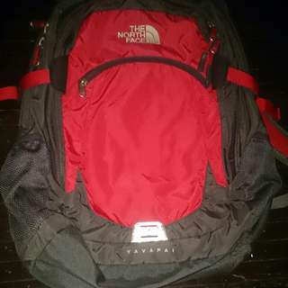 Red North face bag