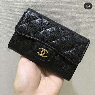 Chanel classic quilted cardholder with flap