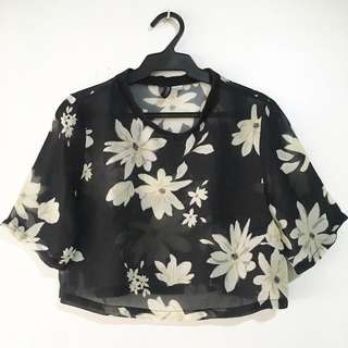 H&M Black Floral Print See-through Cropped Top