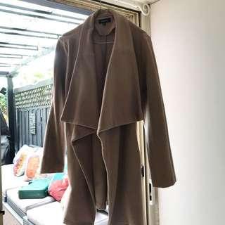 Dark nude beige trench coat knee length