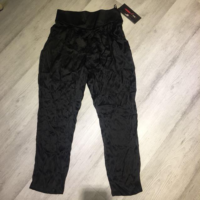 蠶絲100%質感口袋,後腰圍鬆緊長褲,腰圍:31吋,褲長96cm
