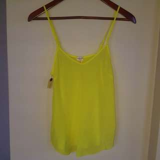 BNWT Neon yellow under wilfred silk camisole xs