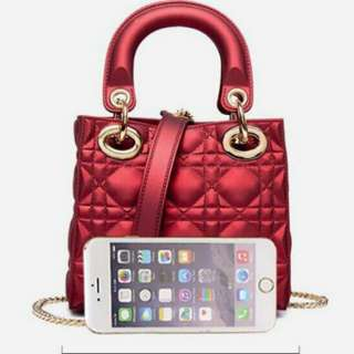 Lady Dior Jelly Bag Maroon Color