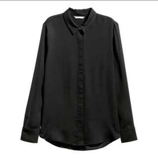 H&M Satin Blouse Black