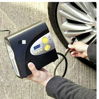 12V Digital Air Compressor tyre inflater with LCD preset and LED Light (and Including Storage Bag and nozzle adaptors)