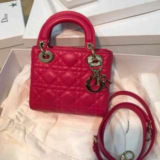 Lady Dior Mini in Fuchsia Pink with GHW