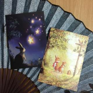 新款森林里的童話 手繪插晝明信片1套2張